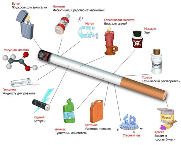 The chemical composition of cigarette