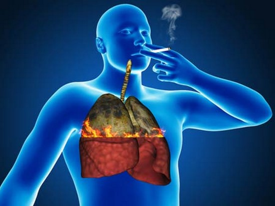 Effect of tobacco smoke on the lungs