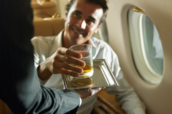 how can alcohol in the plane