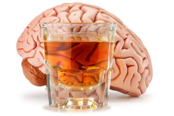 The effect of alcohol on departments of a brain of the person
